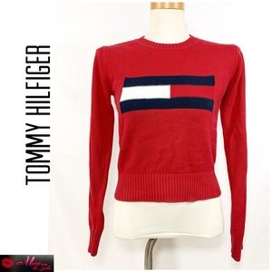 TOMMY HILFIGER Red and Blue Sweater